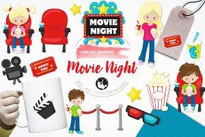 Movie night illustration pack