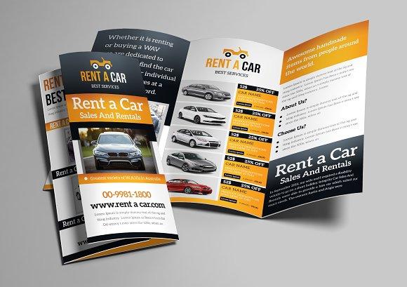 rent a car trifold brochure brochure templates creative market
