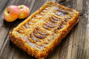 Apple tarte on a Rustic Wooden