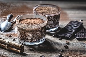 Coffee and chocolate dessert