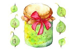 Watercolor gooseberry berry jam set