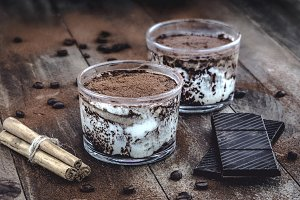 Tiramisu dessert with ingredients