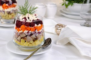 Salad of herring with vegetables