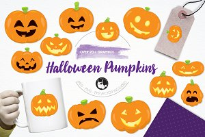 Halloween pumpkins illustration pack
