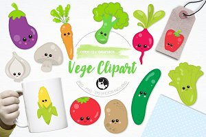 Kawaii vegetable illustration pack