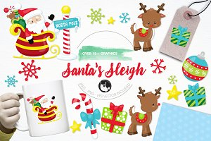Santa's sleigh illustration pack