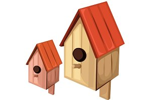 Vector wooden birdhouse
