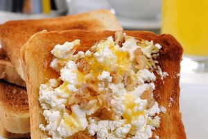 Toast with ricotta at breakfast