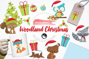 Woodland Christmas illustration pack