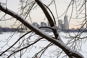 Winter in the big city, shallow depth of field