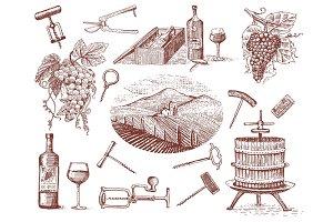 wine harvest products, press, grapes, vineyards corkscrews glasses bottles in vintage style, engraved hand drawn