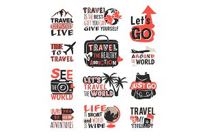 Travel motivation badge vector logo.