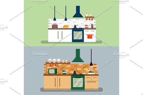 Kitchen and furniture interior flat style vector illustration
