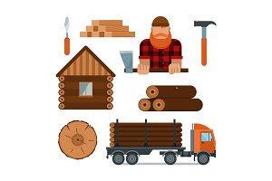 Lumberjack cartoon tools icons vector illustration