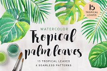 watercolor palm leaves