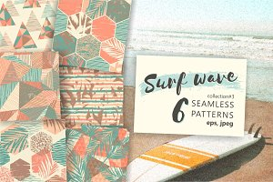 Surf wave. 6 seamless patterns.