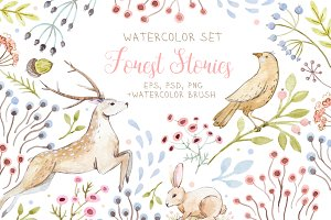 "Watercolor Set  ""Forest Stories"""