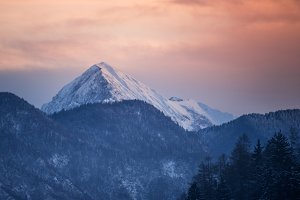 Mountains on a winter morning