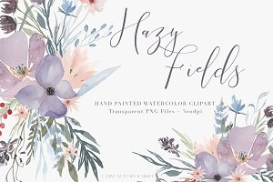Watercolor Floral Clipart - Hazy