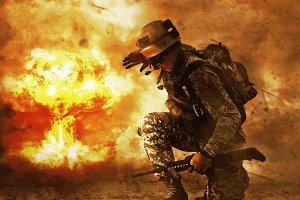soldier turning to mushroom cloud