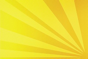 Yellow rays comic pop art background