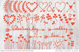 Heart flowers vector set