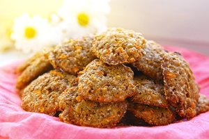 carrot cookies on the cloth with chamomile
