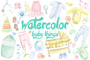 Watercolor Baby Things Set