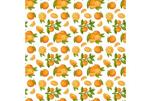 Orange fruit seamless pattern vector.