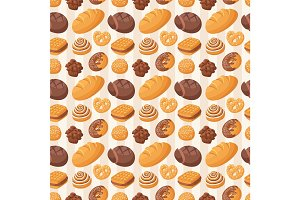 Bakery seamless pattern vector.