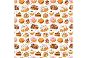 Cookie seamless pattern vector.