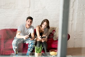 couple entertained at home