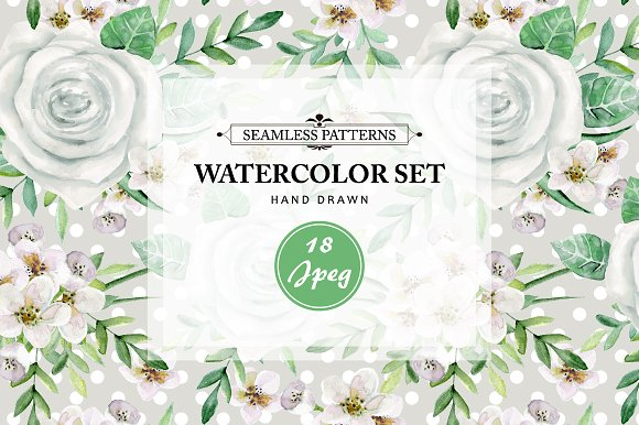 Vintage Seamless Patterns.Watercolor