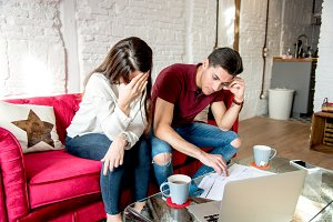 young couple with finance problems