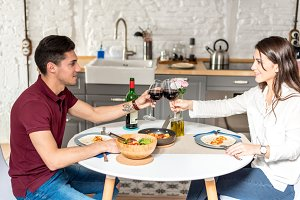 couple in love toasting