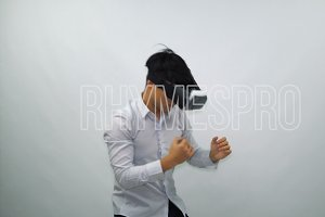 Boy Fights in Virtual Reality Glasses on a White Background
