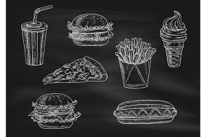 Fast food snacks and drinks chalk sketch icons