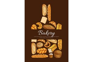 Bakery poster in shape of cutting board