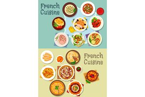 French cuisine meat and dessert dishes icon set