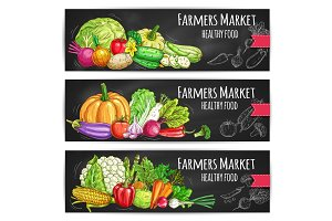 Farmers vegetables market vector sketched banners