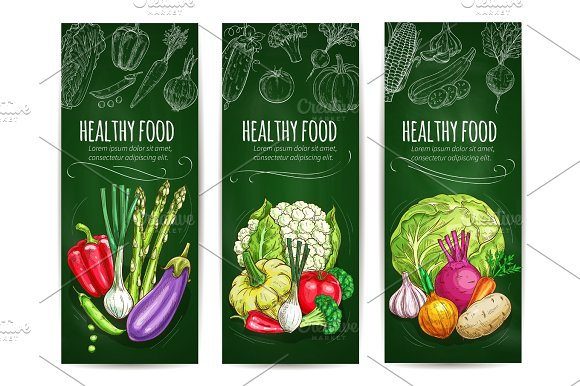Vegetables sketch on banners. Healthy food