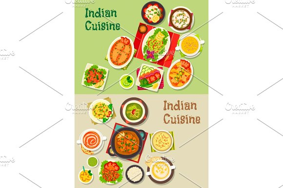 Indian cuisine dishes for restaurant menu design