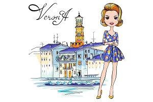 Cute fashion girl in in Verona, Italy