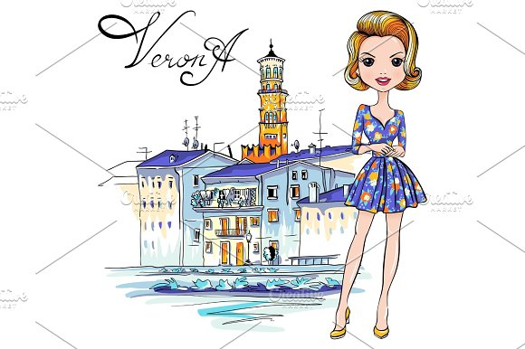 Cute fashion girl in in Verona, Italy