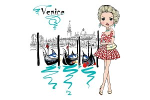 Cute fashion girl in Venice, Italia.