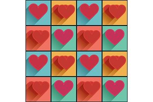 Seamless pattern with flat long shadow hearts