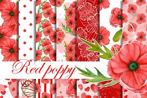 Red poppy patterns