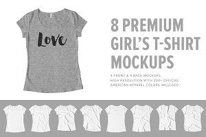8 Premium Girl's T-Shirt Mockups