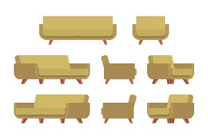 Set of retro sofa and armchair