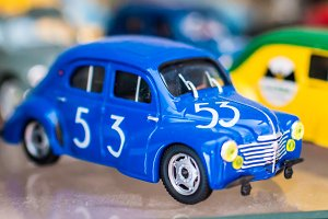 retro blue toy sport car